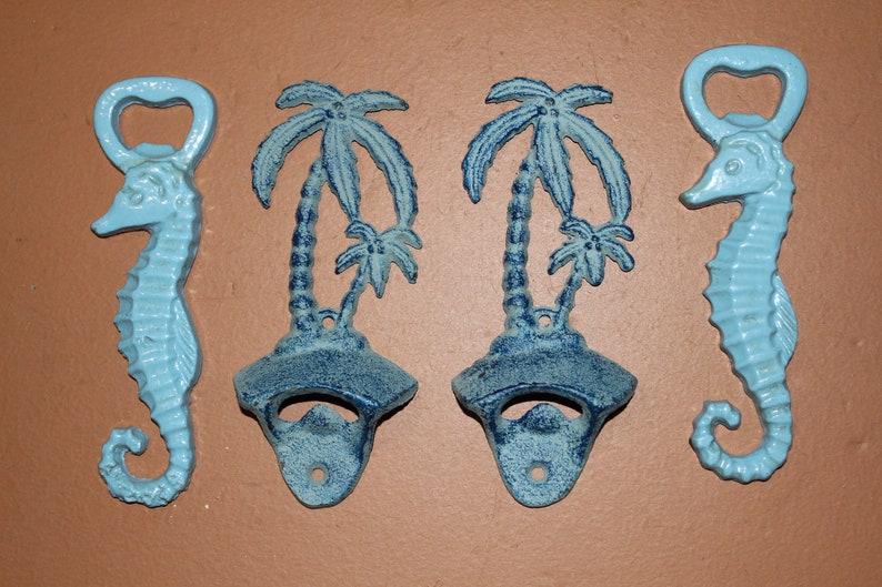 Seahorses And Palm Tree Cast Iron DB 2,5 Bottle Openers Tiki Bar Free Ship