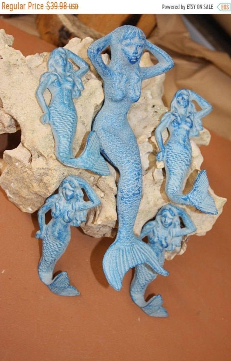 5 pc Blue Mermaid shelf sitters and mermaid wall hooks Free Shipping