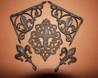 5) Fleur De Lis Delight Collection, Free Shipping, Cast Iron Fleur De Lis Wall Shelf Brackets, Wall hooks, Saints, New Orleans