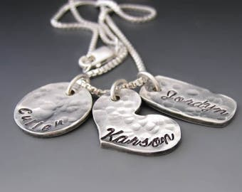 Sterling & Fine Silver Personalized Family Necklace / Children Names / Hand Stamped Necklace / Mother's Day Gifts / Valentine's Day Gift