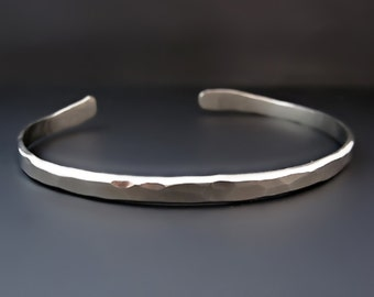 9c376d345bb Men's Thin Hammered Silver Cuff Bracelet / Thin Silver Cuff / The Boyfriend  Cuff / Gifts for Him / Father's Day Gifts / Layering Bracelet