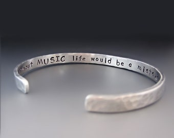 db4eed54584 Mens Thin Custom Silver Cuff Bracelet / Personalized Hand Stamped Bracelet  / Gifts for Him / Father's Day Gift / Layering Bracelet