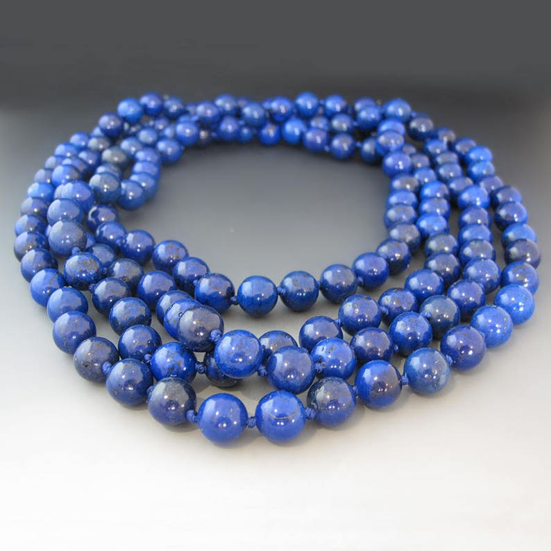 Long Blue Jasper Necklace  Blue Gemstones 60 inch Necklace Gifts for Her  Mother/'s Day Gift  Statement Necklace  September Birthstone