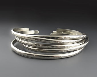 Skinny Hammered NICKEL OR STERLING Silver Cuffs, Silver Bracelets for Women, Stacking Bracelets, Skinny Stackers, Wedding,  Bridal Gift