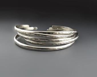 Skinny Hammered Sterling Silver Cuffs OR Nickel Silver Bracelets for Women, Stacking Bracelets, Skinny Stackers, Wedding,  Bridal Gift