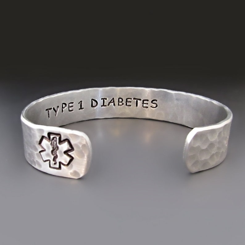 cd0aad5acb2e Custom Silver Medical Alert Bracelet, Personalized Medical Cuff, Engraved  Jewelry, Allergy Alert, Diabetic , Customized EMS Star of Life