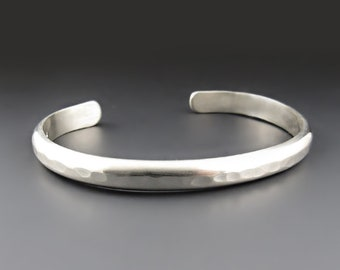 Men's Hammered Silver Cuff Bracelet, Heavy Gauge Sterling Silver or Nickel Silver, Boyfriend, Gifts for Him, Father's Day Gift, Anniversary