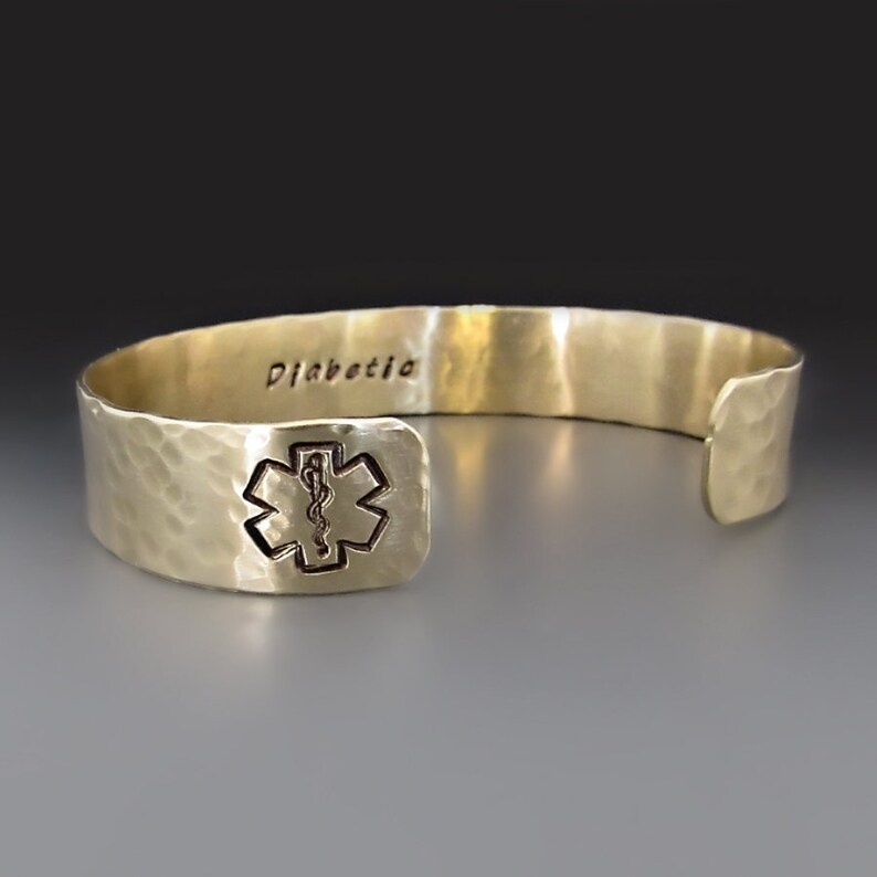 4c9b8939cf0e Custom Gold Medical Alert Bracelet, Personalized Medical Cuff, Engraved  Jewelry, Allergy Alert, Diabetic , Customized EMS Star of Life