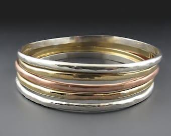 Skinny Hammered Nickel Silver, Gold, Copper Bangle,  Bracelets for Women, Stacking Bracelets, Wedding, Bridal Gift, Gifts for Her