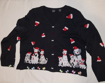 Sale Tacky Ugly Christmas Sweater Cardigan Fit Women S M Men S Etsy