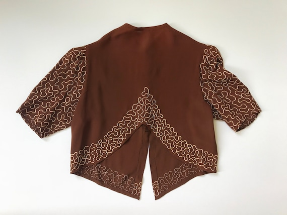1930s embroidered blouse . vintage 30s risqué choc