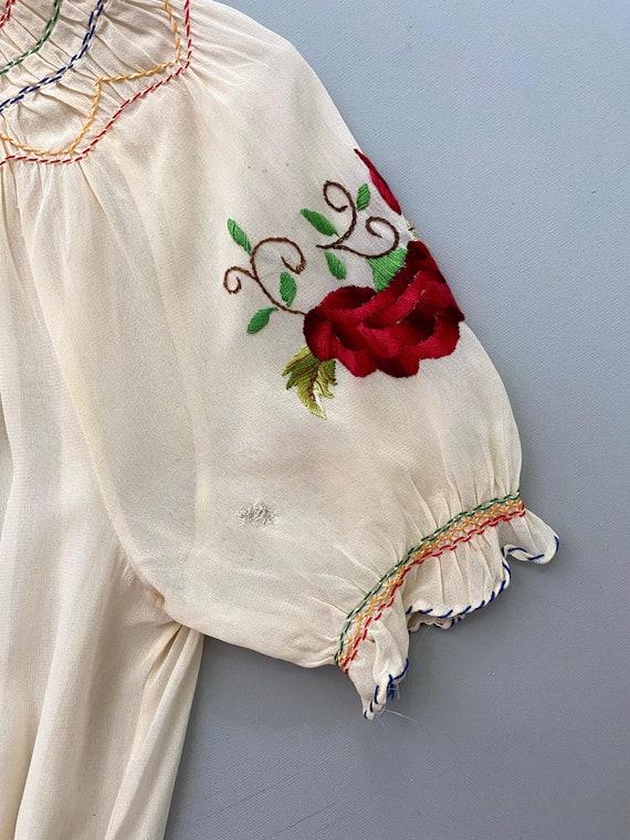 1930s Hungarian blouse . vintage 30s crepe rose e… - image 6