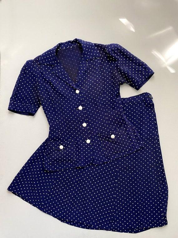 1940s ladies suit. vintage 30s 40s polka dot navy… - image 1