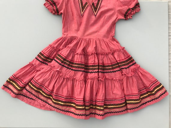 1940s Western swing dress . 40s vintage coral hear