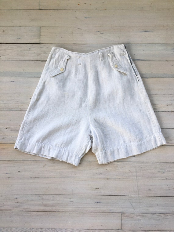 1930s Austrian linen shorts. 30s vintage high wais