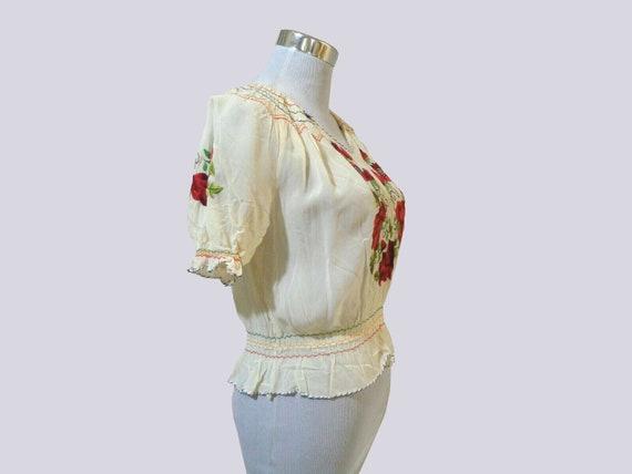 1930s Hungarian blouse . vintage 30s crepe rose e… - image 8