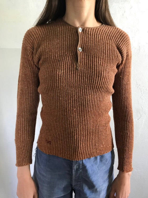 1930s Swedish deadstock henley knitwear sweater .