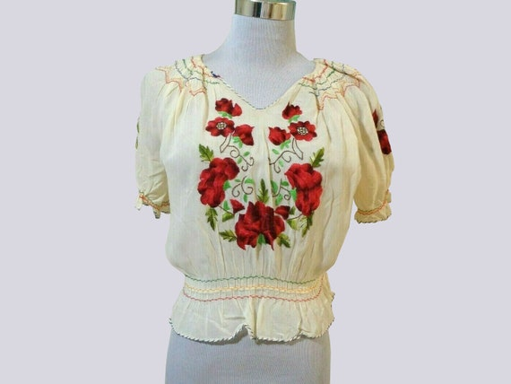 1930s Hungarian blouse . vintage 30s crepe rose e… - image 7