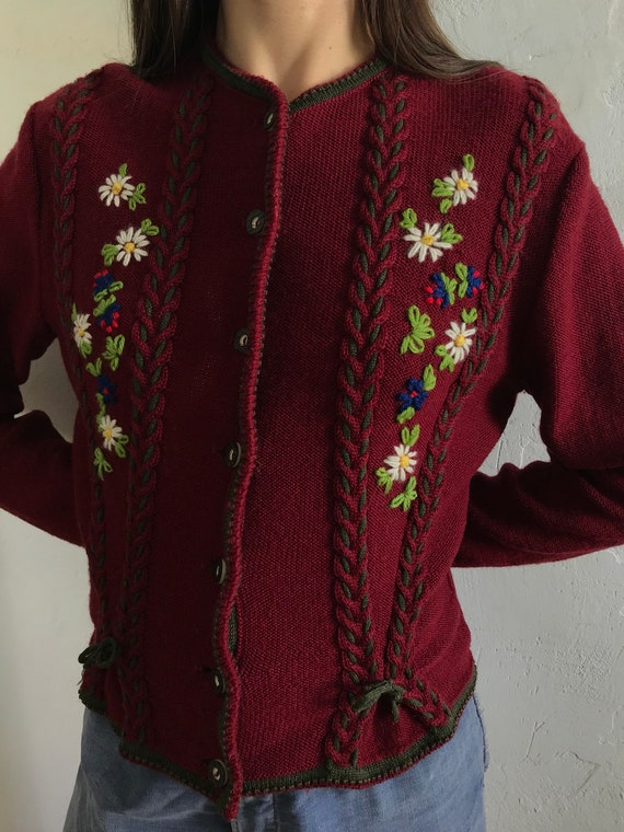 1950s braided knitwear sweater . 50s vintage Germa