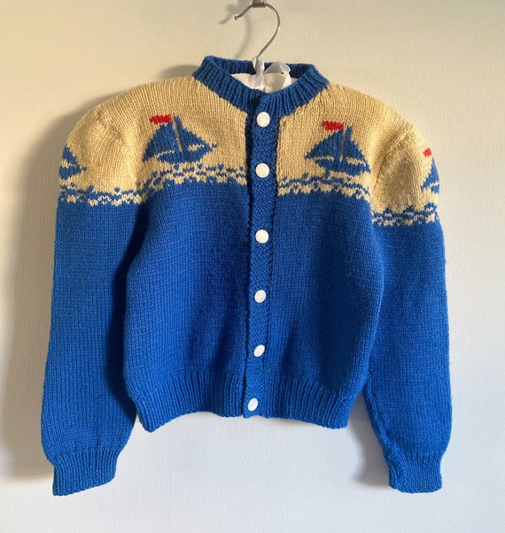 1940s sailboat sweater . 40s vintage wool cardigan