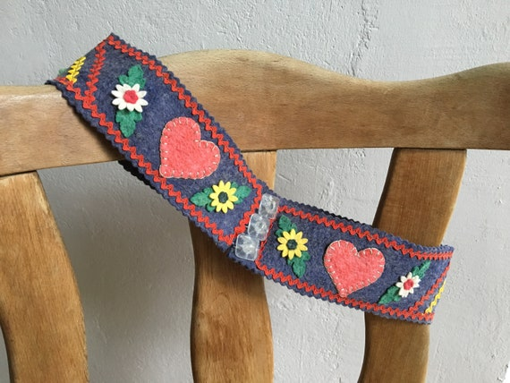 1940s German folk belt . 40s vintage Bavarian felt