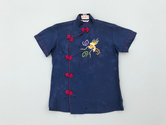 1940s dragon embroidery blouse. 40s vintage blue … - image 1