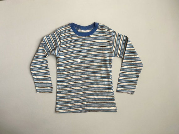 50s Striped T-shirt 1950s Striped Tee White with Red and Blue Stripes