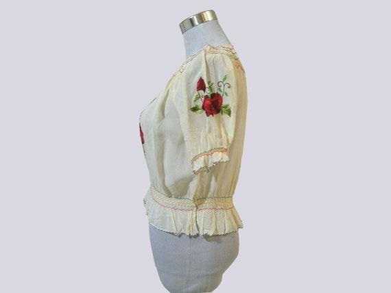 1930s Hungarian blouse . vintage 30s crepe rose e… - image 9