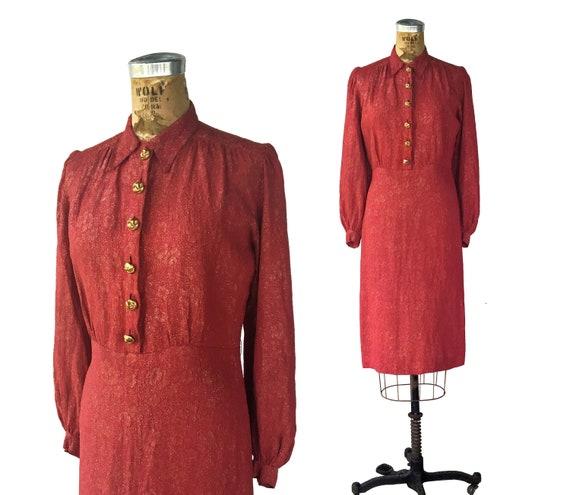 1940s pink lamé dress . vintage 40s collar shirt w