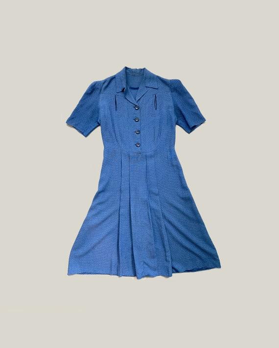 1940s polka dot dress . 40s vintage blue cotton pu