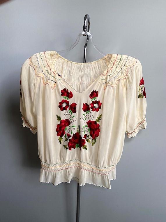 1930s Hungarian blouse . vintage 30s crepe rose e… - image 2