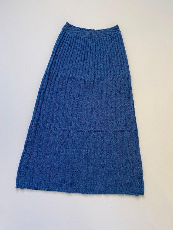 1930s knitwear maxi skirt . 30s vintage azure blue