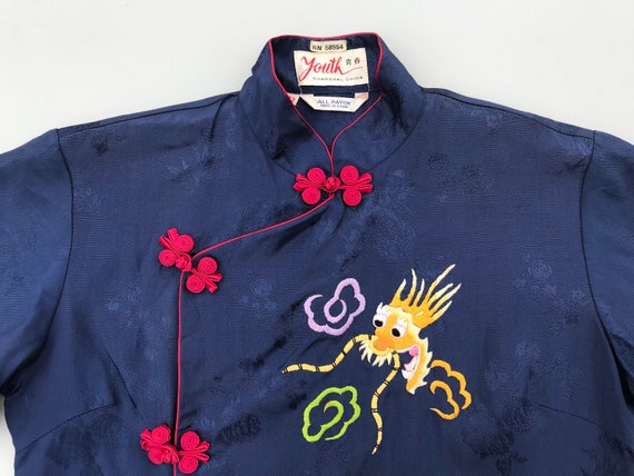 1940s dragon embroidery blouse. 40s vintage blue … - image 2