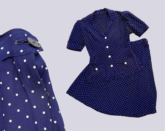 1940s ladies suit. vintage 30s 40s polka dot navy… - image 9