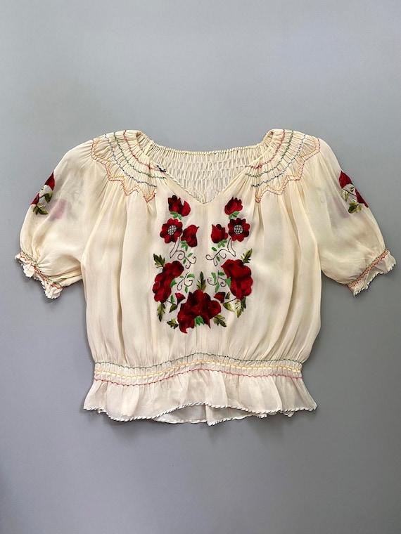 1930s Hungarian blouse . vintage 30s crepe rose e… - image 1