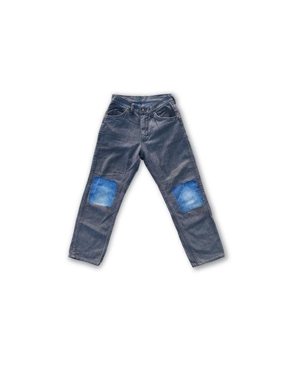 1950s womens denim jeans . vintage 50s pants trous