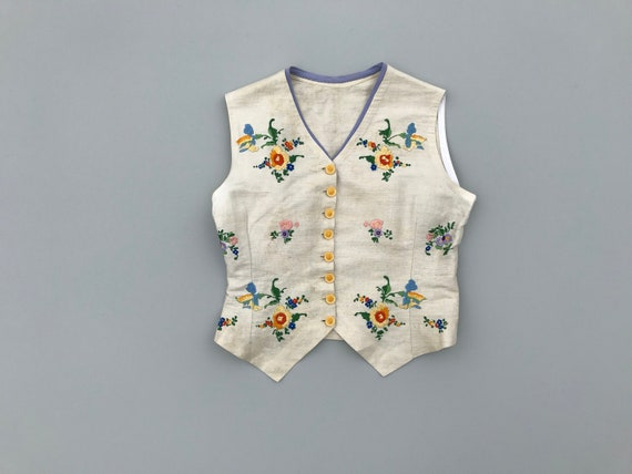 1930s Hungarian vest . vintage 30s embroidered lin