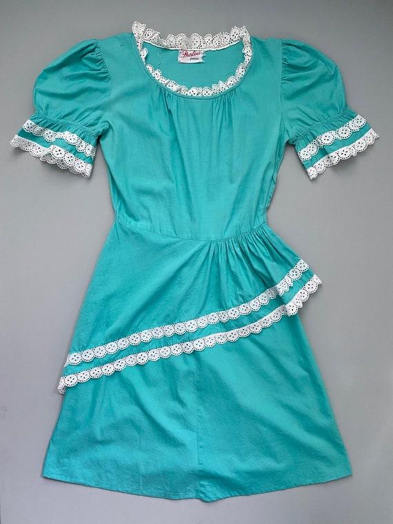 1940s Darlene Junior turquoise dress . 40s vintage