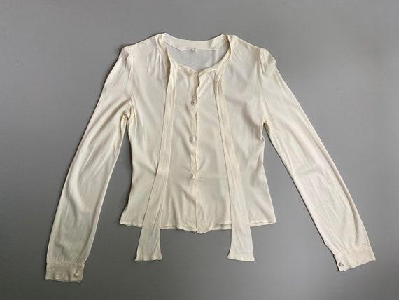 1930s 1940s white long sleeve blouse. 30s 40s vint