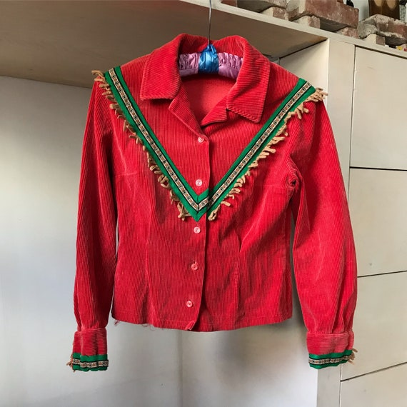 1940s corduroy blouse . 40s vintage red raspberry