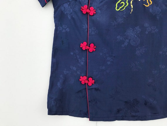 1940s dragon embroidery blouse. 40s vintage blue … - image 3