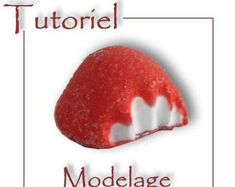 Tutoriel : bonbon fraise à modeler en pâte polymère (Fimo )®