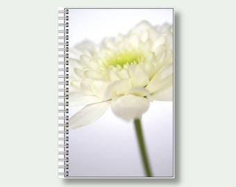Notebook, A5 Floral Note Book, Flower Journal, Notepad, White Chrysanthemum, Gift For Gardener