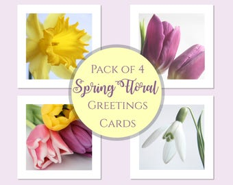 Spring Cards | Flower Greetings Cards | Flower Note Cards Selection | Blank Flower Cards | Photo Cards | Tulip Cards | Easter Cards Pack