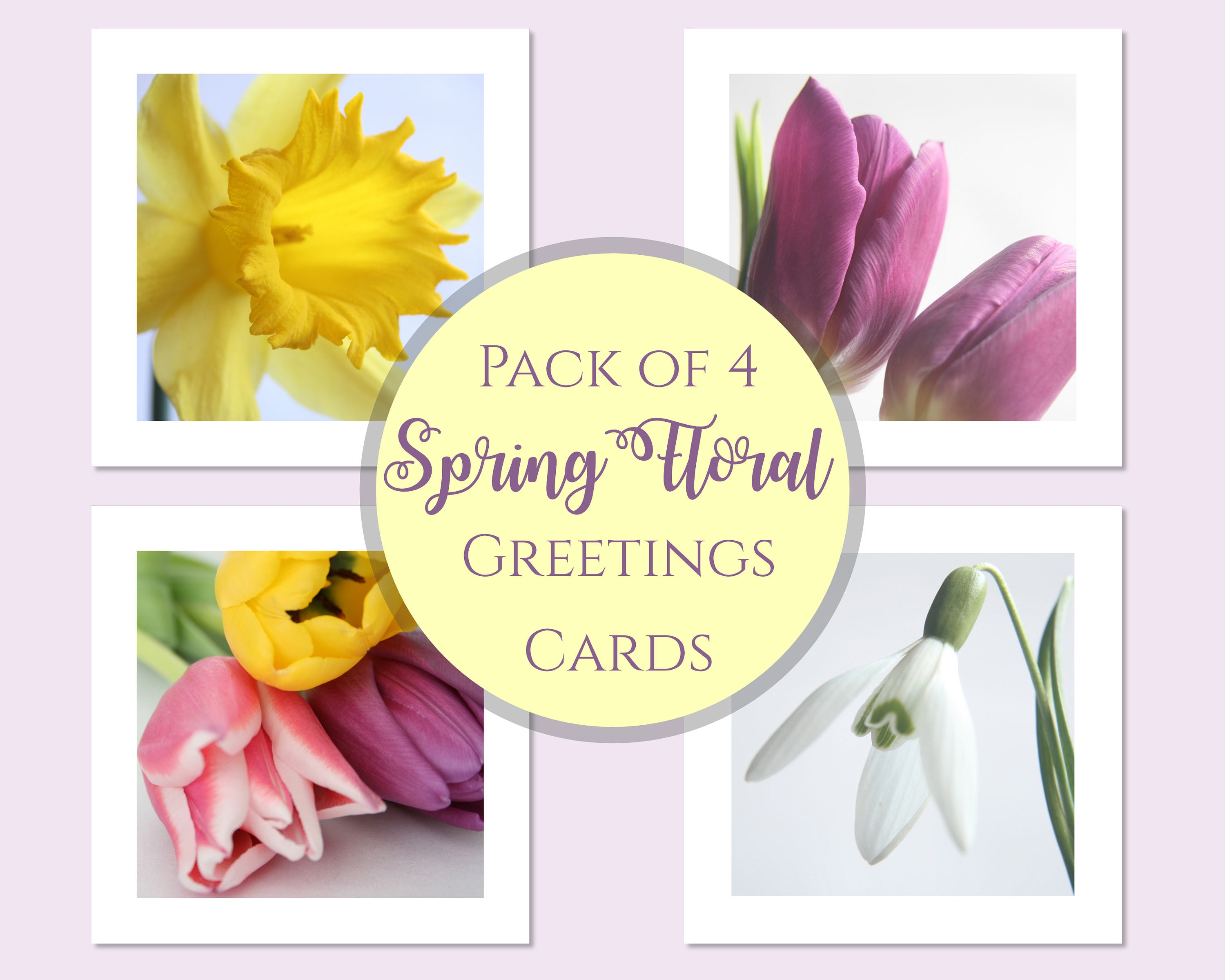 Pack Of Four Floral Spring Easter Greetings Cards