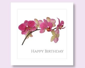 FLOWER BIRTHDAY CARD | Birthday Card for Her | Orchid Card | Flower Photo Card | Floral Birthday Card | Birthday Card | Botanical Card
