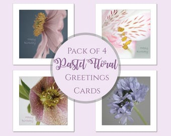 Flower Birthday Card Pack | Photo Greeting Cards | Pack of Cards | Floral Photographic Cards | Flower Cards | Flower Birthday Card Selection