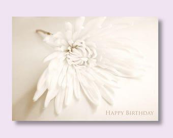 Flower Birthday Photo Card, Chrysanthemum Card, Flower Card, Floral Birthday Card, Sepia Birthday Card, White Flower