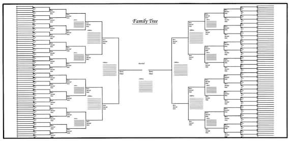 5 pack of large family tree charts bracket style 48 x etsy