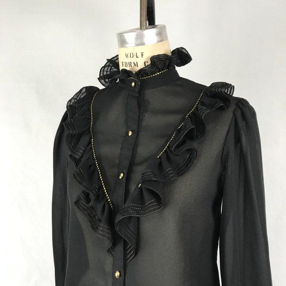 Vintage 1970s Black Ruffle Blouse 70s Sheer Black